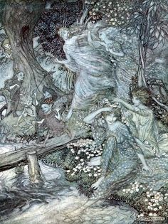 Arthur Rackham - 'By dimpled Brook, and Fountain brim, The Wood-Nymphs, deckt with Daisies trim, Their merry wakes and pastimes keep' from ''Comus'' (1921)