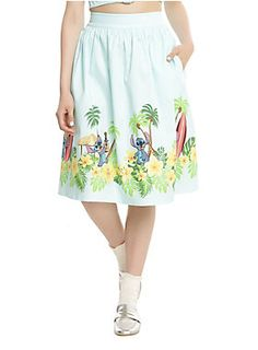Luau perfection // Disney Lilo Stitch Border Print Retro Circle Skirt