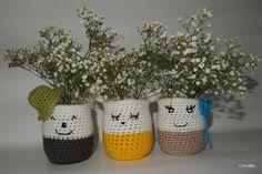 Trio de cache-pots rigolos, crochet, diy, pot yaourt verre, grame