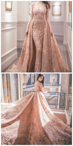 Freya Gong in beautiful soft nude coral ball gown dress by designer Best Wedding Dresses