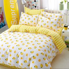 Lemon Printing Cotton Bedding Set Duvet CoverSheetPillow Case Four-Piece Dream Rooms, Dream Bedroom, Yellow Room Decor, Yellow Bedroom Decorations, Bedroom Yellow, Kawaii Bedroom, Luxury Bedding Sets, Aesthetic Bedroom, Cool Beds