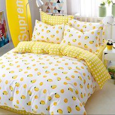 Lemon Printing Cotton Bedding Set Duvet CoverSheetPillow Case Four-Piece Dream Rooms, Dream Bedroom, Yellow Room Decor, Yellow Bedroom Decorations, Bedroom Yellow, Luxury Bedding Sets, Aesthetic Bedroom, Dorm Bedding, Chic Bedding