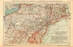 1905 Antique Dated Map of the Mid-Atlantic by CabinetOfTreasures