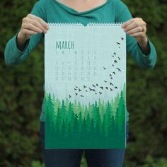 SALE! 30% off (originally $28)  This large format 2017 wall art calendar is a collection of flora and fauna illustrations. Ravens and foxes, and bears - oh my! It measures 11 x 17 and contains 12 monthly art prints. *Wire coil bound with a hanger for easy wall display. This calendar is eco-friendly! Professionally offset printed on heavy 100% PCW recycled cover stock (no new trees). Packaged in a clear sleeve, and shipped securely in a recycled mailer with tracking.  *A smaller desk version…