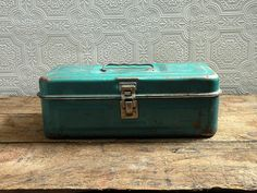 Antique teal metal tackle box. My First Tackle Box.