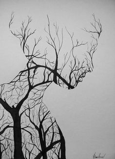 Chat de brume painting in 2019 drawings, pencil drawings und art sketches. Doodle Art Drawing, Cool Art Drawings, Pencil Art Drawings, Art Drawings Sketches, Drawing Faces, Drawing Drawing, Beautiful Drawings, Illusion Art, Tree Art