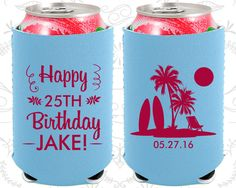 25th Birthday, 25th Neoprene Birthday, Happy Birthday, Beach Birthday, Tropical Birthday, Neoprene Birthday Can Coolers (20079)