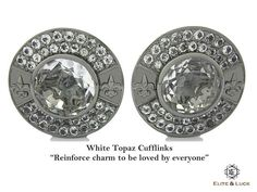 "White Topaz Sterling Silver Cufflinks, Black Rhodium plated, Royal Model ""Reinforce charm to be loved by everyone"""