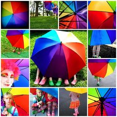 Happy Life Under The Rainbow Umbrella Mosaic With Rainbow Quotes by Pink Sherbet Photography, via Flickr