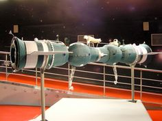 Soyuz 4/5 orbital docking and crew transfer.