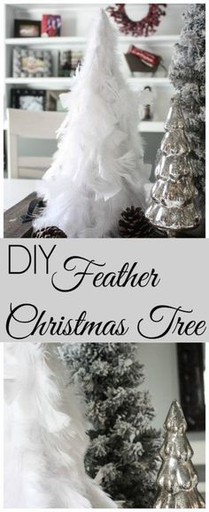 This DIY Feather Christmas tree is a must have this Christmas season! It is super easy to make and costs hardly anything.Check it out now for the full tutorial! #FeatherChristmasTree #DIYChristmasTree #ChristmasDecor Christmas Mantels, Diy Christmas Tree, All Things Christmas, White Christmas, Christmas Holidays, Christmas Decorations, Holiday Decor, Christmas Ideas, Christmas Tree Feathers