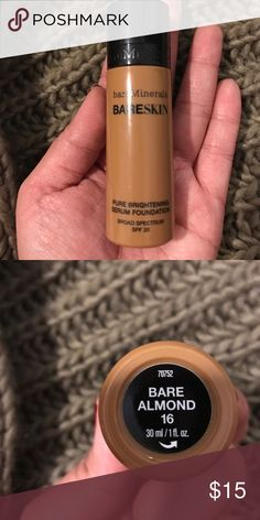 bareMinerals Bareskin foundation Serum foundation in Bare Almond 16. Used 2 times but is too dark for me. Still like a full bottle. Original $29 bareMinerals Makeup Foundation