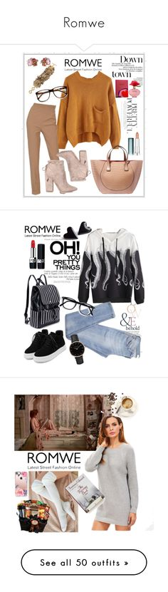 """Romwe"" by aazraa ❤ liked on Polyvore featuring Carolee, Betsey Johnson, Hermès, Kendall + Kylie, Victoria Beckham, Maybelline, ZeroUV, Marc Jacobs, WithChic and Topshop"