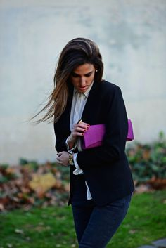 Fashion blogger, black blazer, street style, skinny trousers, purple clutch, fashion accessories, baroque, silk shirt, thehighville