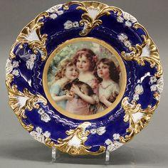 Royal Vienna style porcelain portrait plate