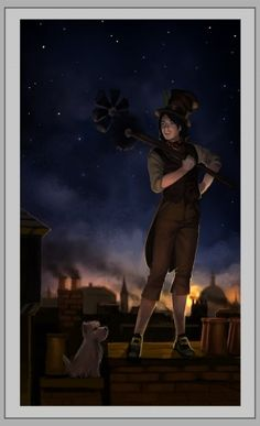 The Fool card in a Steampunk Tarot deck - as a chimney sweep.  Fun comparison - traditional Fool about to walk off the edge of a cliff.  This Fool can walk off the edge of a building!