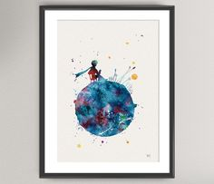 The LITTLE PRINCE Nº3 Watercolor Print - Le Petit Prince Ink Saint-Exupéry Painting Art Print Wall Gift Decor Poster Wall Decor Home by oinkartprints on Etsy https://www.etsy.com/listing/195717972/the-little-prince-n3-watercolor-print-le