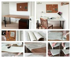 Using wallpaper is a fresh table refinishing technique.