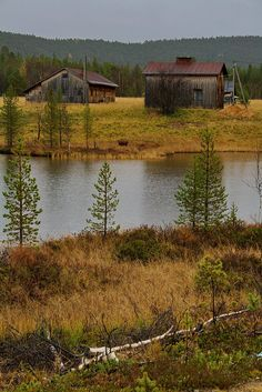 Inari, Lake, Finland www. Farm Barn, Old Farm, Country Barns, Country Life, Country Living, Country Roads, Barns Sheds, Country Scenes, Rustic Barn