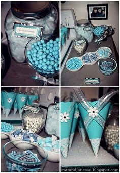 Tiffany & Company themed party with candy buffet. #Birthday #Tiffany