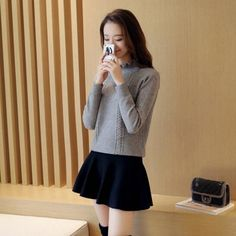 Cheapest Sweater Korean Style Turtleneck Bodycon Knit Sweater Grey