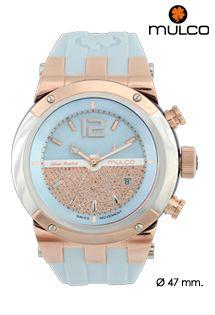 Reloj unisex Mulco con mecanismo de cuarzo y correa de silicona. Bicolor en Aqua y rosa. Modelo Bluemarine Glass. Caja de 47 mm.