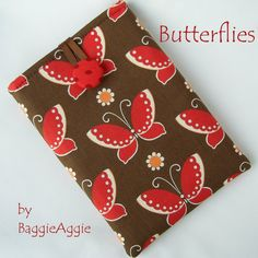 BUTTERFLIES Tablet Case for Kindle Fire, iPad Mini, Nexus 7, Samsung Galaxy Tab and more.  Handmade in Wales, UK.