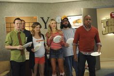 """Last LuncH""  Sue Galloway as Sue, Katrina Bowden as Cerie, Judah Friedlander as Frank, Keith Powell as Toofer"