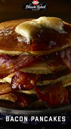 If this picture doesn't flip your breakfast switch, then there is no hope. l Pancakes l BLACK LABEL® Bacon l Breakfast l Buttermilk l Maple syrup Pancakes And Bacon, Pancake Day, Bacon Breakfast, Bacon Wrapped, Maple Syrup, Brunch Recipes, Label, Favorite Recipes, Snacks