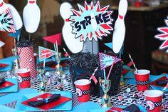 Cute bowling party birthday theme idea...