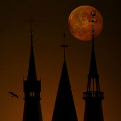the towers of the Posthoorn church in Amsterdam and the moon eclipse of 21 February 2008.