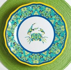 Luxury Non-Skid Heavyweight Melamine Dinnerware/Sea Crab 12-Pc. Service for Four.  sc 1 st  Pinterest : cynthia rowley dinnerware collection - pezcame.com