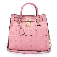 Michael Kors Hamilton Studded Leather Large Pink Tote