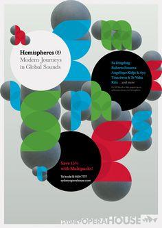 Hemispheres 09 identity, Sydney Opera House, 2008 Campaign graphics for a season of world music.