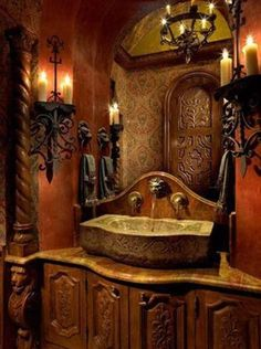 Tuscan Bathroom Design With Wall Sconces And Stone Sink , Inviting Tuscan Bathroom Design In Bathroom Category