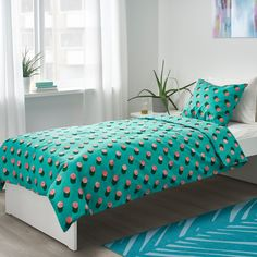 GRACIÖS Quilt cover and pillowcase, dotted, pink turquoise, cm - IKEA Childrens Bed Linen, Kids Bed Linen, Ikea Stockholm, Twin Size Duvet Covers, Soft Duvet Covers, Need Sleep, Kids Sleep, Articles Pour Enfants, Cosy Room