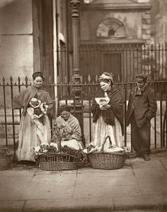 Covent Garden Flower Women  From 'Street Life in London', 1877, by John Thompson and Adolphe Smith