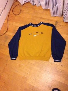 Nike Vintage Sweatshirt Jumper Mustard Yellow Blue Supreme Stussy in Clothes, Shoes Accessories, Mens Clothing, Hoodies Sweats | eBay
