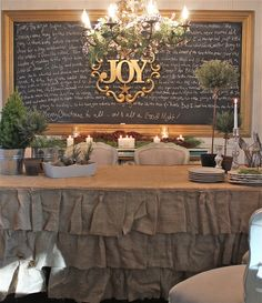Burlap and chalkboard- I want to make this tablecloth