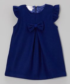 Look what I found on #zulily! Royal Blue Bow Wool-Blend Swing Dress - Toddler & Girls by Blossom Couture #zulilyfinds