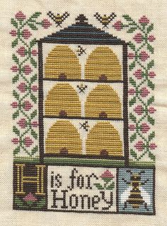 H is for Honey bee skep hive cross stitch point de croix