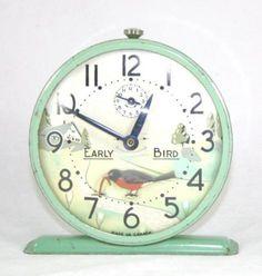 "Westclox ""Early Bird"" alarm clock - robin pulls worm as clock ticks, late 1940s to 1950s"