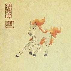 Daily Pokiyo-e #077: Ponyta by BDJudkins on DeviantArt