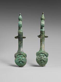 Pair of bronze amphora (jar) handles, Classical, 5th century BC, Etruscan, Bronze