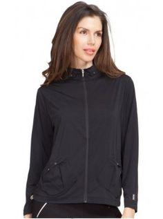 Jamie Sadock Basic Women's Long Sleeve Super Lightweight UV Sunsense Full Zip Golf Jacket with Pockets-Jet Black