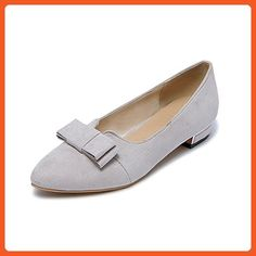 A&N Womens Slip-Resistant Bows Elastic Band Gray Fabric Loafer-Flats - 10 B(M) US - Pumps for women (*Amazon Partner-Link)