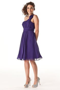Grecian Short Bridesmaid Dresses - Purple