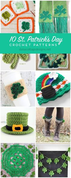 The best free St. Patrick's Day crochet patterns. Use these free crochet patterns to make shamrocks, rainbows, and more green St Pat's inspired projects. Holiday Crochet Patterns, Crochet Stitches Patterns, Crochet Designs, Crochet Afghans, Knitting Patterns, Crochet Crafts, Crochet Projects, Free Crochet, Crochet Ideas