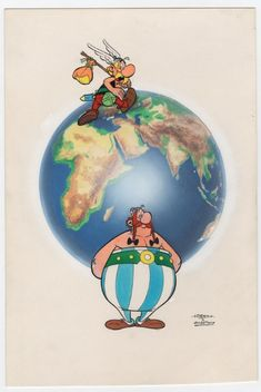 Astérix and the Earth being supported by Obélix.