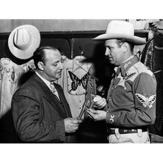 Gene Autry Talking to a Man in Suit Photo Print